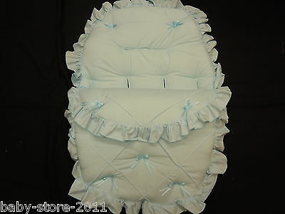 Beautiful. Pram  Cosytoes  Smaller  Size  Footmuff  Colour  Baby  Blue  And Bows