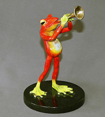 * BRONZE TRUMPET FROG SCULPTURE FIGURINE STATUE  ART Amphibian Signed Numbered