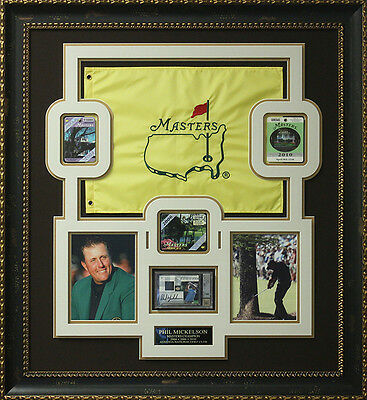 Phil Mickelson Signed Upper Deck Card with Undated Masters Flag & Badges Display