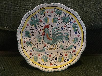 MAIOLICHE NULLI DERUTA ROOSTER WALL PLATE HAND PAINTED MADE IN ITALY NUMBERED