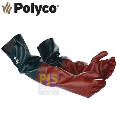 Polyco long john pvc rubber glove 25in gauntlet ponds chemicals drains fishing
