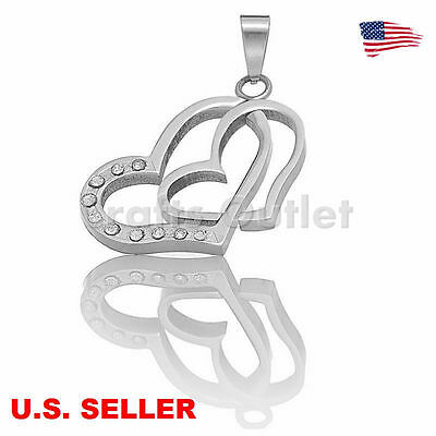 Wholesale Stainless Steel 2 Hearts Pendant Jewel Making Findings Craft Supplies