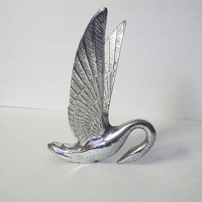 """Vintage Chrome Swan Hood Ornament Low Neck Patterned Wings 8"""" High"""