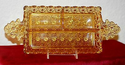 EAPG Daisy and Button Amber Three Part Relish Tray