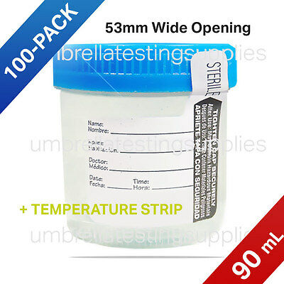 90mL Sterile Urine Collection Cup with Temp Strip - Wide Opening, 100-Pack