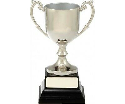 Trophy Cup Silver Nickle Plated 122mm Engraved FREE