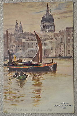 """CPA """" LONDON - St Paul's from the River"""
