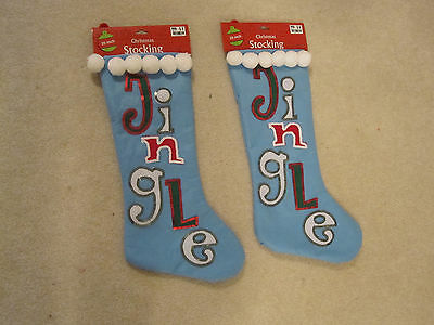 Christmas stocking 2 Jingle light blue  20 inch new with tags