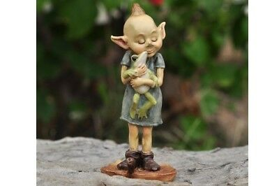 "3.5"" My Fairy Gardens Mini Figure - Girl Pixie Hugging Frog - Miniature Figurine"