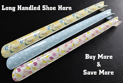 "Patterned Extra Long Handled Shoe Horn 17"" In 3 Styles Plastic Shoe Remover Aid"