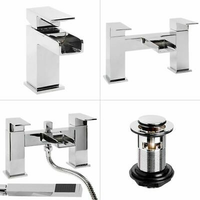 Waterfall Bathroom Tap Pack | Modern Basin with Waste, Bath Filler, Shower Mixer