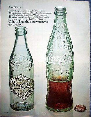 1968 Coca Cola Coke Bottles Old New Same Difference ad