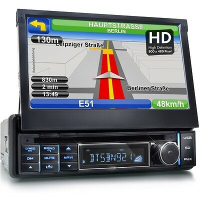 Autoradio Con Navigatore Navi Gps Bluetooth Touchscreen Dvd/cd Usb Sd Mp3 1Din