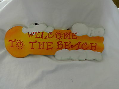 WELCOME TO THE BEACH WOOD SIGN W CHAIN HANGER  RED ORANGE WHITE CLOUDS