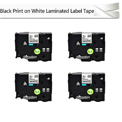 "4PK TZe241 TZ241 3/4"" Black on White tape 18mm For Brother P-Touch Label printer"