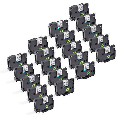 """20PK TZe-241 TZ241 3/4"""" Black on White tape 18mm Fits For Brother P-Touch Label"""