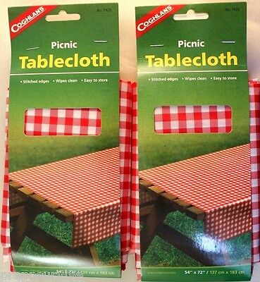 """2 Pk Picnic Tablecloth New Vinyl Stitched Edges 54"""" X 72"""" Easy  Wipe Clean"""