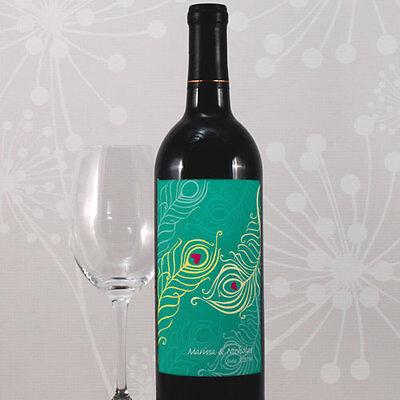 24 Perfect Peacock Personalized Wedding Wine Bottle Labels Q18592
