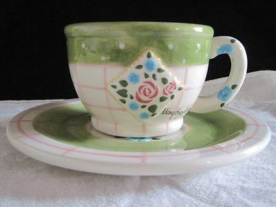 1998 Mary Engelbreit Ink Cup & Saucer, Enesco , Green/Blue Flowers Plate Dishes