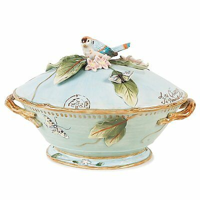 Fitz And Floyd Toulouse Tureen Ladle Soup Birds Kitchen China Collectibles Dish