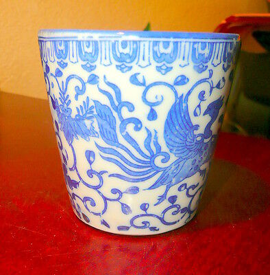Japan China Moriyama BLUE PHOENIX  Bird Flying Turkey Custard Cup 2 3/4'' tall