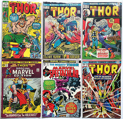 VINTAGE THOR LOT OF 6 COMICS #184-201-209-229 & MARVEL SPECIAL ISSUES 4 & 13