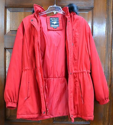 Bromley Sport Red Coat / Parka with Fox fur trim hood L