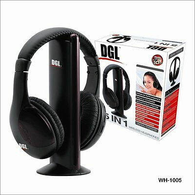 DGL 5 In 1 Wired / Wireless FM Radio Adjustable Over-The-Ear Headset Headphones