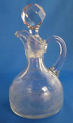 EAPG NEW MARTINSVILLE Glass Etched Cruet w/ Stopper in Lusitania Pattern