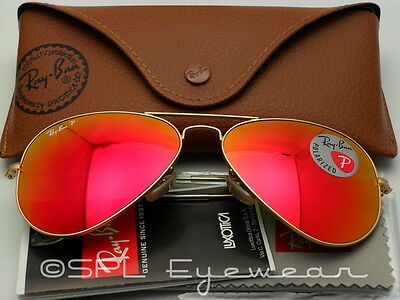 Ray Ban Aviator RB3025 112/4D 55-14 Gold Frame Polarized Red Mirror Lens 55 mm