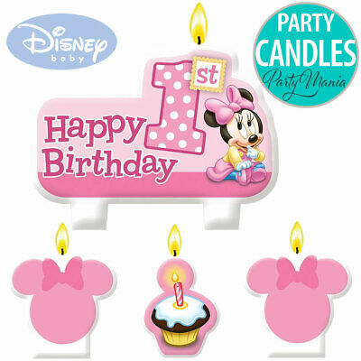 Minnie Or Mickey Mouse 1St First Birthday Party Supplies Cake Candle Set