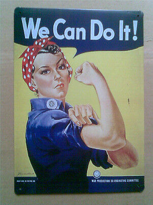 We Can Do It Rosie the Riveter TIN SIGN poster vtg retro metal wall decor ad