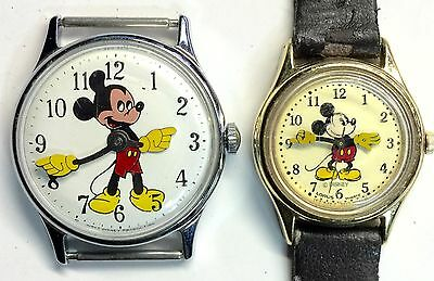 SET OF 2  DISNEY MICKEY MOUSE ANIMATED HANDS WATCHES LADIES LORUS V515 FOR PARTS