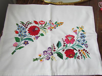 Vintage Small pillowcase hand Embroidered Floral Kalocsa Pillow sham Craft