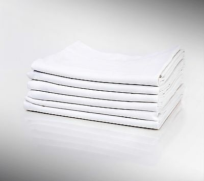 LOT OF 6 COTTON BLEND T250 WHITE KING SIZE HOTEL LINEN PILLOW CASES BULK, 20X40