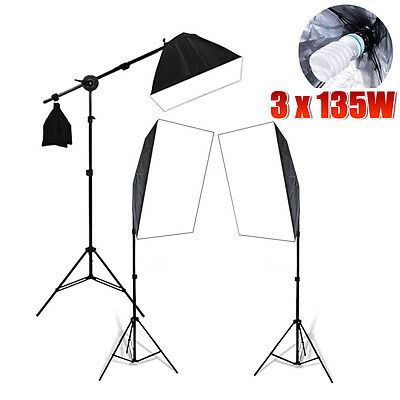 2025W Photography Studio Continuous Softbox Lighting Boom Arm Light Stand Kit