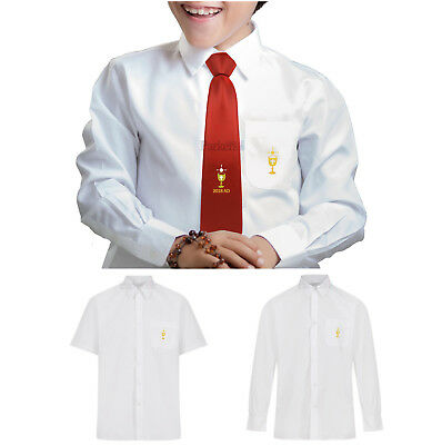 First Holy Communion Shirt Long Or Short Sleeved Embroidered Chalice Pocket 2018
