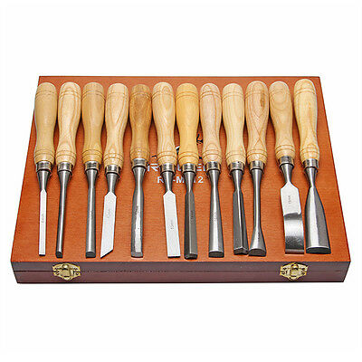 Hand Wood/Carving Chisels Knife DIY Tools For Lathe Woodcut Working 12pcs set