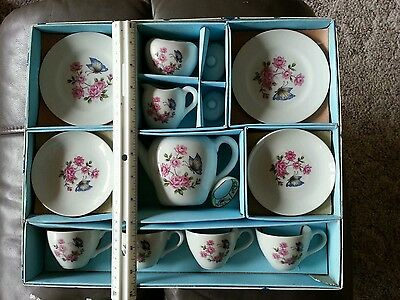 Vintage 18pc child's ceramic tea set butterfly pink flowers (made in Japan) New