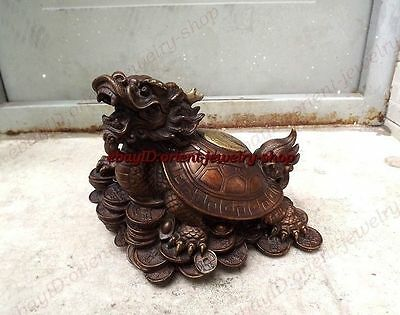 Worthy collection Archaic brass dragon tortoise foot coins patterned statue