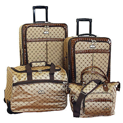 American Flyer Signature Expandable 4 Piece Luggage Set Brown