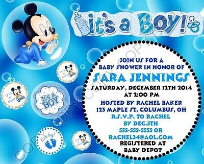 Mickey Mouse Baby Shower Invitations 12 Pk Personalized Itu0027s A Boy