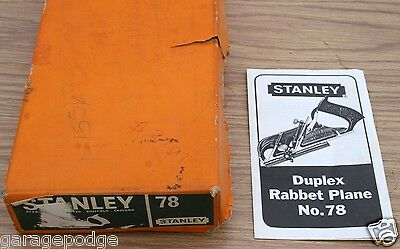 VINTAGE NEW OLD STOCK STANLEY DUPLEX RABBET WOOD PLANE TOOL # 78 IN BOX NOS