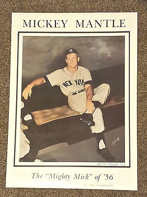 POSTER OF MICKEY MANTLE DUGOUT SHOT TAKEN BY RAY GALLO - GALLO SIGNED & DATED