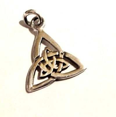Triple Triquetra Pendant with Blue Glass Droplet wicca goddess necklace silver
