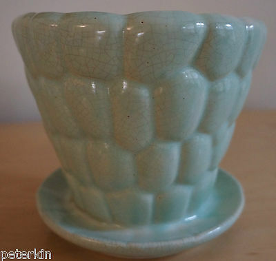 Mid-Century Aqua Vintage Art Pottery: Planter w/attached saucer UNMARKED McCOY?