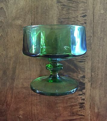 4 Vintage Green Glasses/Cups with Octagonal  Shape Design