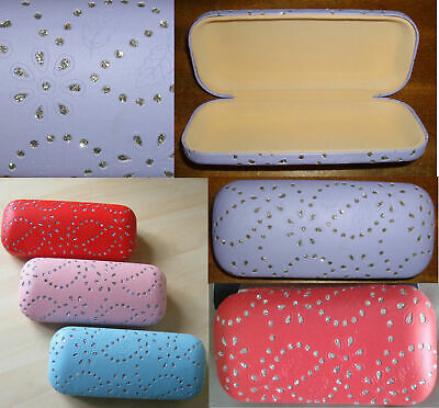 Designer Spectacle glasses case box, diamante Glittered Red,pink,and purple