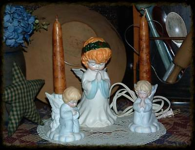 3-HOUSE OF LLOYD CHRISTMAS HOLIDAY GUARDIAN ANGEL LIGHT-PRAYING ANGEL HOLDERS