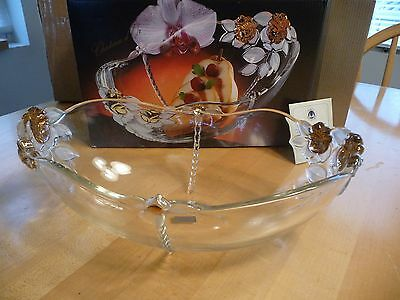 """Mikasa Gilded Rose Crystal Bowl Clear w/Gold 5"""" Tall Round Serving Bowl 1990"""